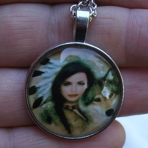 Indian Woman with Wolf pendant Necklace